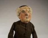 RESERVE FOR ANNABELLCARMEN - Priest or Monsignor Folkart Doll Collectible - Handpainted Fabric Face, Wire Arms and Legs - Wood Feet