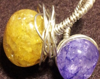 Healing Gemstones Sterling Silver Handmade Wire Wrapped Amethyst and Citrine Ring.Jewelry