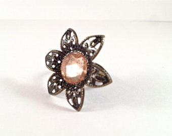 Bronze Flower Ring with Vintage Pink Glass 0613-162