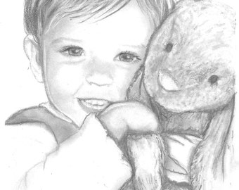 Custom Portrait from Photo -Hand Drawn - Graphite - Child, Adult, Family - for - Gift, Anniversary, Birthday, Wedding, Mothers - Fathers Day
