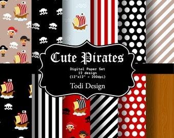Cute Pirates-  INSTANT DOWNLOAD Digital Paper Set