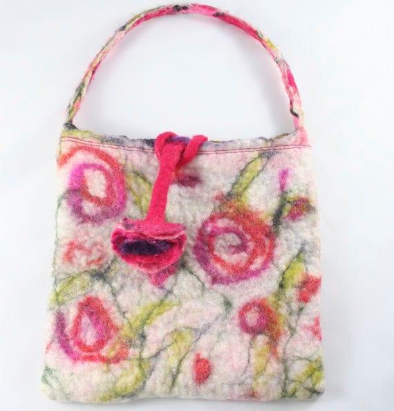 Felted Cream Purse Bag  Felt Flower - Floral Design