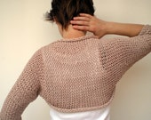 RESERVED Roll Trendy Shrug Bolero Hand Knit Cotton Woman Shrug  NEW