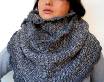 Flower Roll-On Circle Scarf Hand Knit Big Cowl Soft Mixed Wool Fall Winter Women Scarf NEW COLECTION