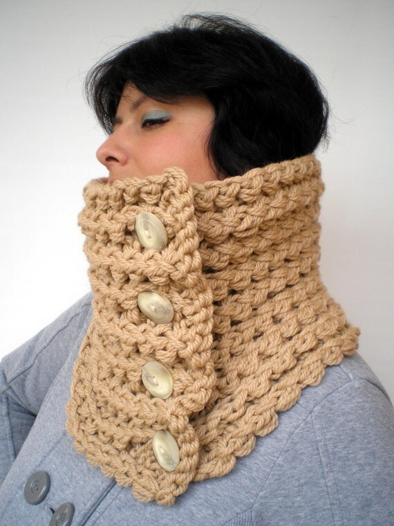 Chunky Cream Knit Cowl pure soft  Wool Circle Scarf Neckwarmer NEW
