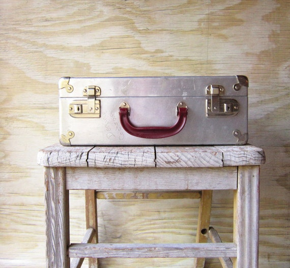Vintage  Metal Suitcase Skate Case