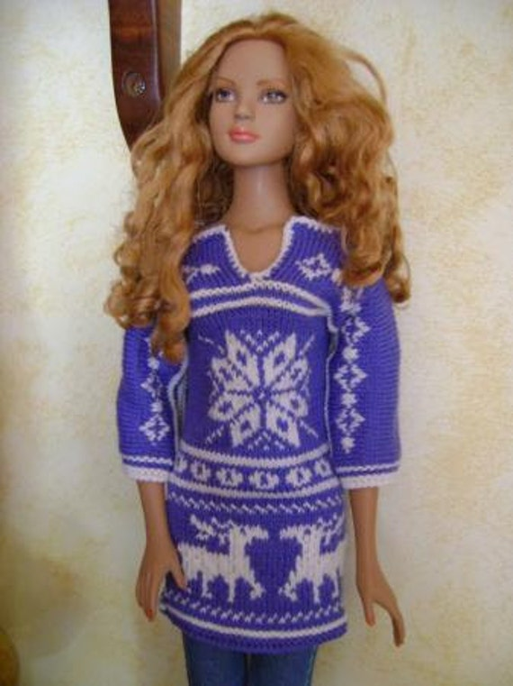 56. French and english knitting pattern PDF - Tunic for American Model