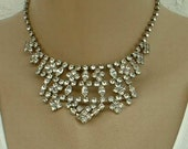 Tiara Style Bib Choker Necklace Rhinestones Galore Holiday Bling Vintage Jewelry