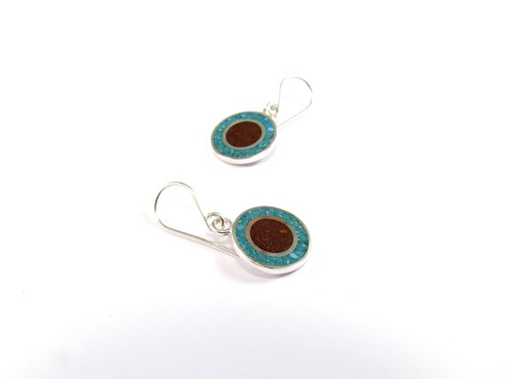 Sterling Silver Earrings, Turquoise and Chocolate, Fun, Modern, Contemporary