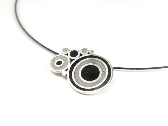 Black and White Bubbles  - Sterling Silver Pendant