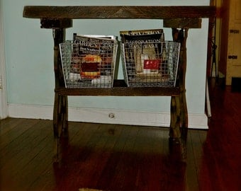 Primitive Rustic Reclaimed Wood & Cast Iron Table, Foyer, TV table, Kitchen island - SALE
