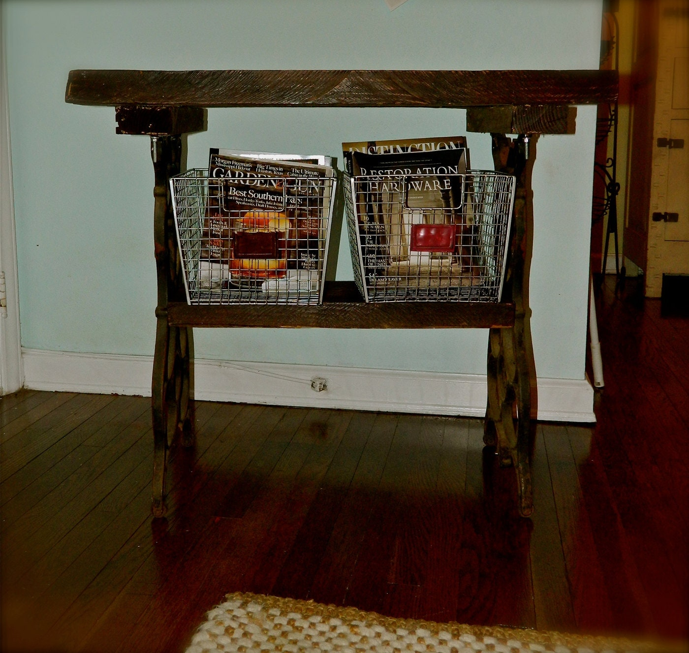 Foyer Table Tv : Primitive rustic reclaimed wood cast iron table foyer tv