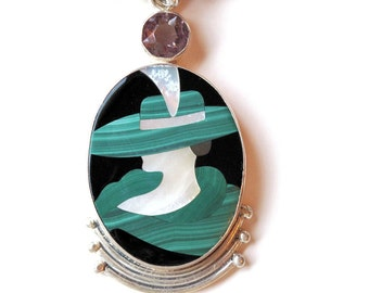 Inlaid Gemstone Pendant -Green Kentucky Derby Hat-Sterling Silver-Double Strand Gemstone Necklace