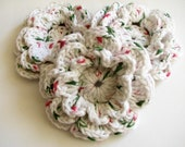 Crochet Flowers - 3 Large, Layered Christmast Colored Crochet Flowers