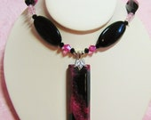 Pink Agate and Swarovski Crystal Pendant necklace - hot pink fuschia faceted stones - GORGEOUS COLOR unique ooak handmade