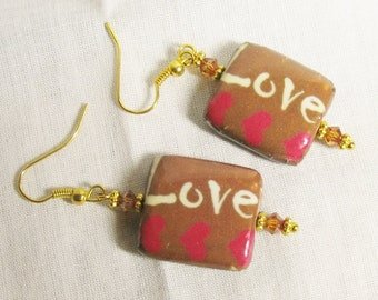 LOVE Dangle Earrings - Brown Pink Decoupage hearts design with Swarovski crystal & gold plated hooks