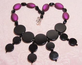 Purple shimmer and Black Onyx bib - Statement Necklace - OOAK handmade - matching earrings available