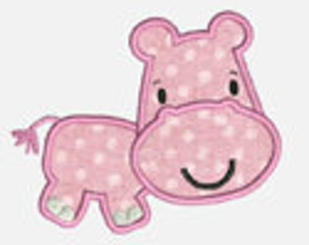 Big Head Hippo...Embroidery Applique Design...Three sizes for multiple hoops...Item1130.