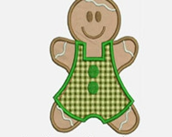 Gingerbread Boy...Embroidery Applique Design...Three sizes for multiple hoops...Item1362...INSTANT DOWNLOAD