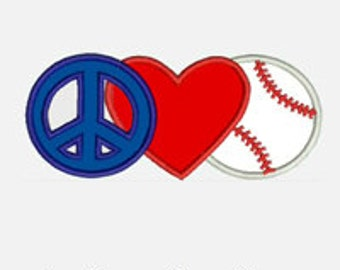 Peace Love Baseball...Embroidery Applique Design...Three sizes for multiple hoops...Item1392...INSTANT DOWNLOAD