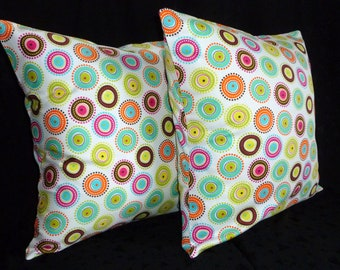 Decorative Throw Pillow Covers - Colorful Dots on White - Two 18 Inch