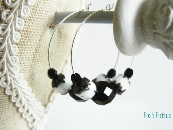 Black and White Beaded Czech Glass Hoop Earrings