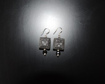 Handmade Square Carved Wood Earrings with Sterling Silver