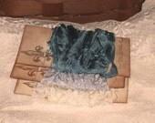 Scrunched Seam Binding ribbon, Hand Crinkled Seam Binding Packaged French Vanilla Bleu ESC
