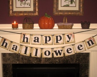 Vintage Large Happy Halloween Double Garland Banner Sign by Vintage Paris Market