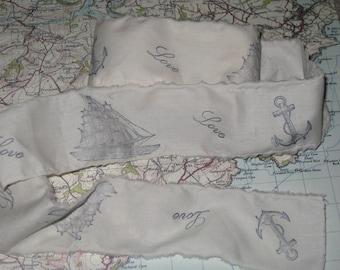 Muslin Nautical Anchor love Sail Boat Vintage Hand Stamped Muslin Ribbon ECS