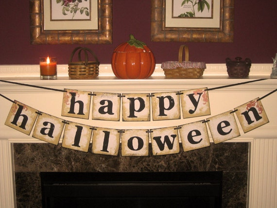 Vintage Large Happy Halloween Double Garland Banner Sign by