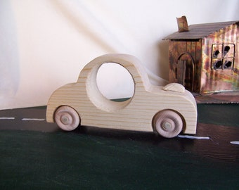 Toy Sedan Car for Children Handcrafted from Reclaimed Wood