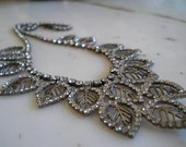 RESERVED FOR SKNY  Gorgeous Vintage Rhinestone Bib Necklace leaves