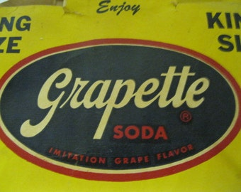 Grapette King Size Soda Six Pack Bottle Paper Container Carrier Vintage Refreshing Find From the 50's or 60's to Add to Grapette Collection