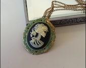 Skeleton girl cameo necklace