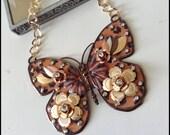 Leopard enamel flower butterfly necklace