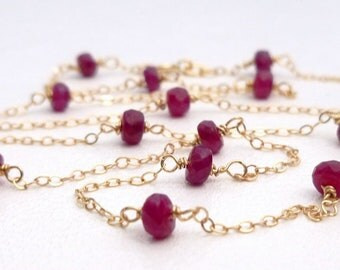 Natural Ruby Faceted Bead 14K Yellow Gold Necklace 6 tcw