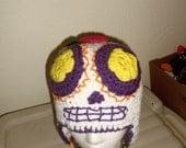 sugar skull crochet earflap hat