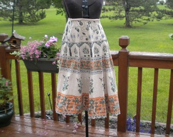 Vintage Hippie Woodstock India Flower Child Skirt