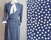 Blue & White Polka Dot Bow Tie Secretary Dress