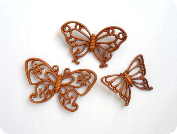 3 Butterfly Wall Hangings Lot