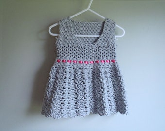 Crochet Pattern - The Rosalie Dress- Crocheted Lace Baby Dress or Top With Ribbon Sash - Sizes NB to 18Months