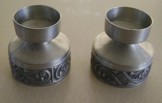 "Vintage Hand Crafted Candleholders Pewter Made in Norway  3"" by 3"""