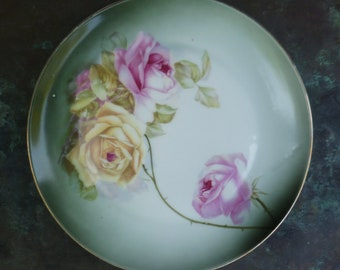 Pink Yellow Roses Plate. Vintage Antique 1900s. Z S & Co. Bavaria. Victorian, Cottage, Shabby Chic Decor.