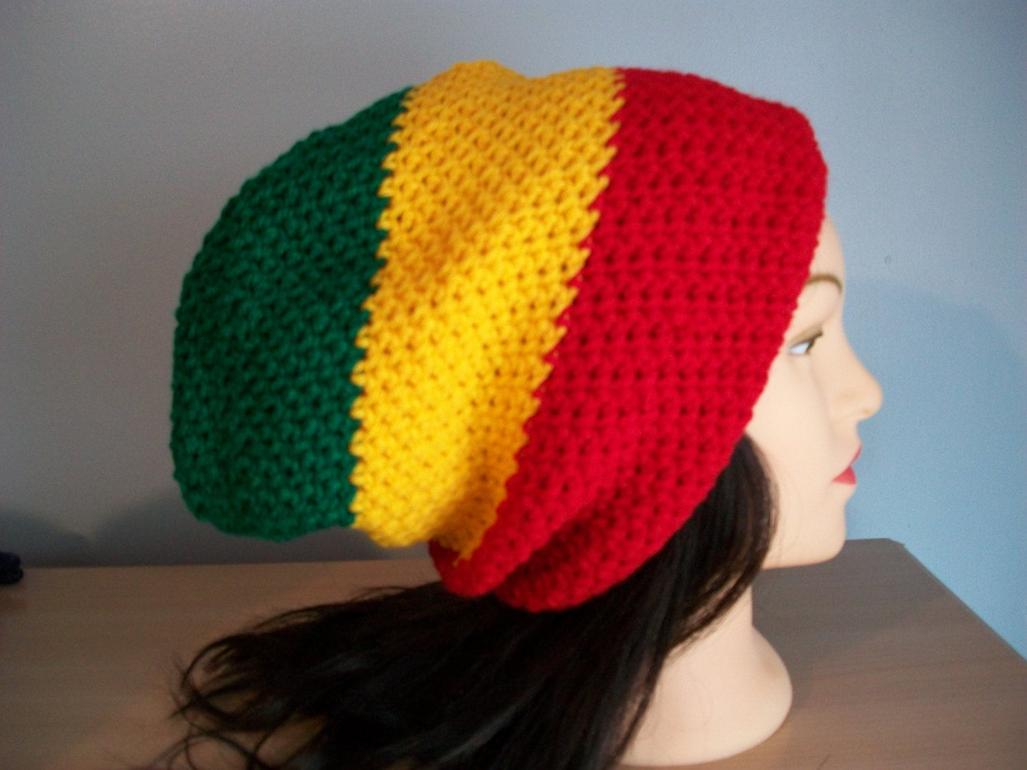 Knitting Patterns For Rasta Hats : Rasta Hat Slouchy Stocking Cap Crocheted
