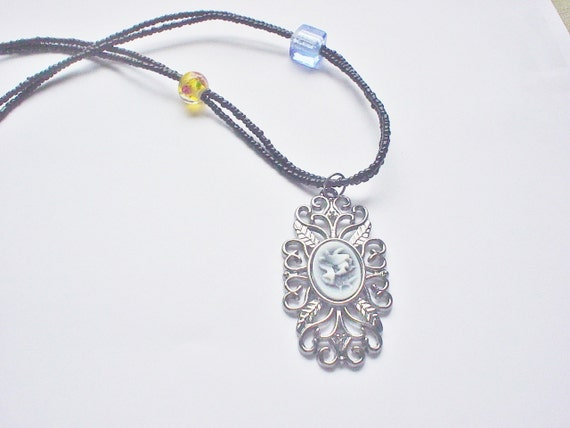 SALE / Filigree Seed Bead Charm Necklace