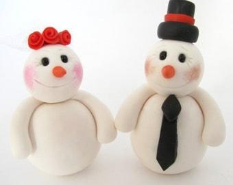 Snowman  Wedding Cake Topper, Winter wedding, Christmas