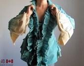 Gothic Lolita Clothing. Steampunk Bustle Vest. Rococo Coat. Teal. Renaissance Clothes. Victorian. Gothic. Womens. M. L. XL. XXL. Plus Size