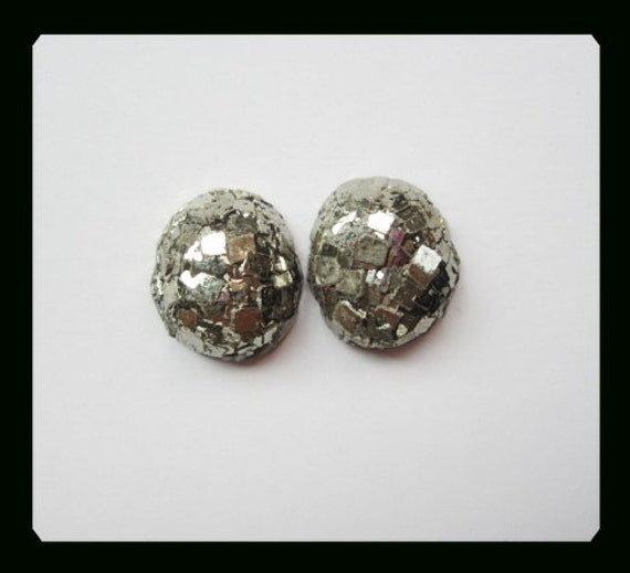 Nugget Pyrite Cabochon Pair,18x21x8mm,14.6g