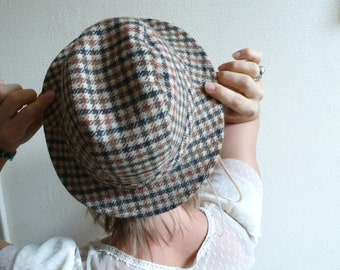 Vintage Trilby Hat, Fedora brown, tweed pattern, check plaid, Paris fashion, man's hat, french chic , vintage boutique, girlfriend hat gift